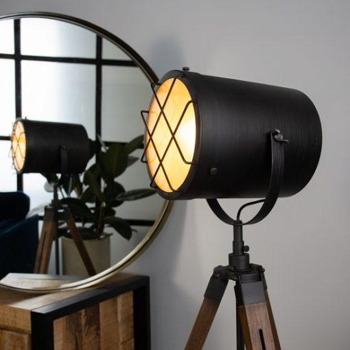 Stoere industriele vloerlamp hout