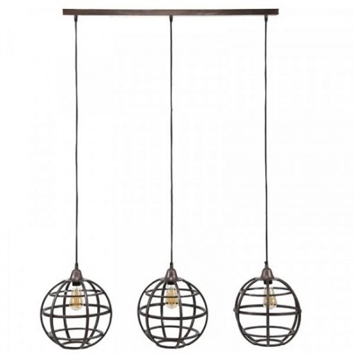 Hanglamp metaal koper ronde kappen