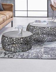 Ronde salontafel industrieel nikkel