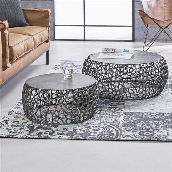 Wonderbaarlijk Ronde salontafel industrieel nikkel - Blockdesign WX-99