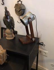 Tafellamp metalen kap grijs