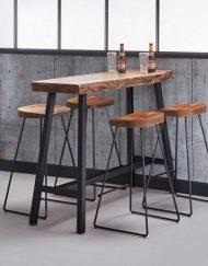 Barkruk metaal houten zitting industriele