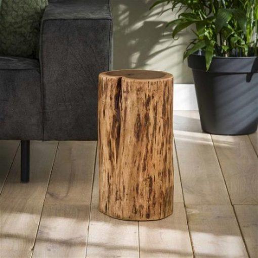 Bijzettafel boomstam rond hout