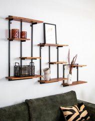 Wandrek planken industrieel metaal en hout