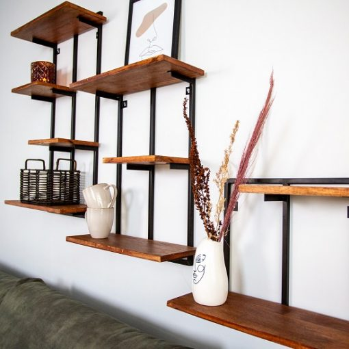 Wandrek planken industrieel metaal frame