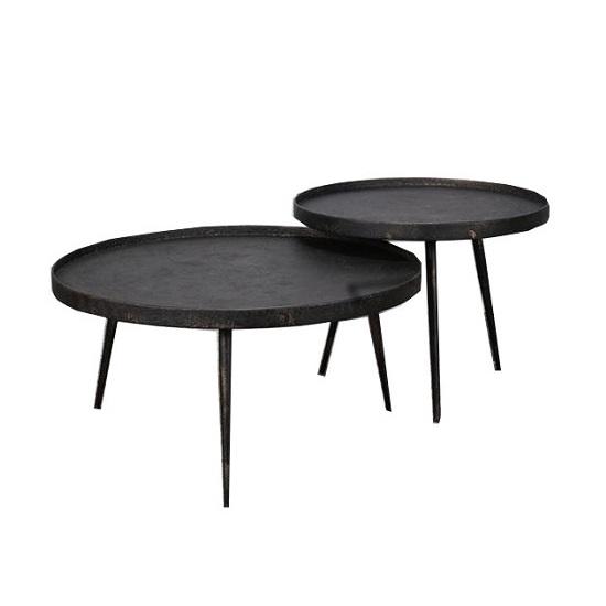 Salontafel Rond Metaal.Salontafel Grijs Metallic Blockdesign
