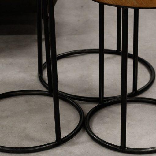 Set van 3 houten bijzettafels metaal