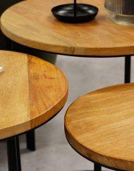 Set van 3 houten bijzettafels zwart