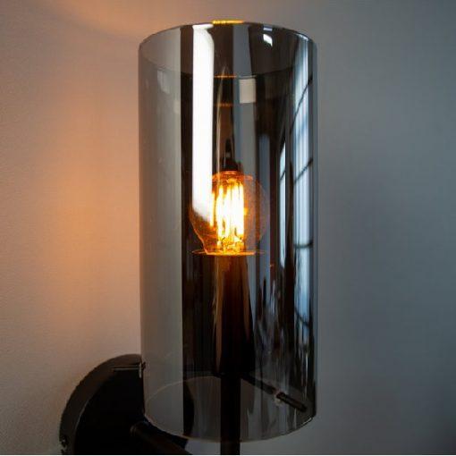 Wandlamp glazen kap grijs industrieel