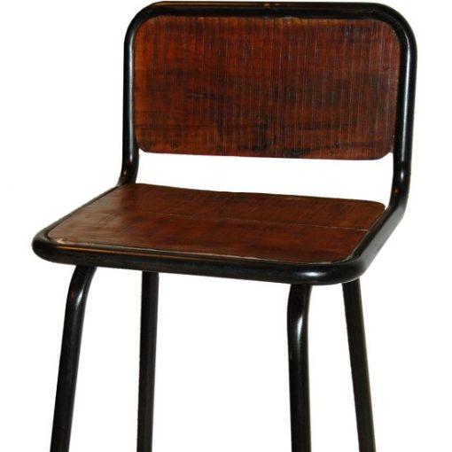 Barkruk ijzer en houten zitting