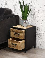 Ladekast hout metaal zwart stoer