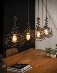 Hanglamp industrieel vier kappen taps
