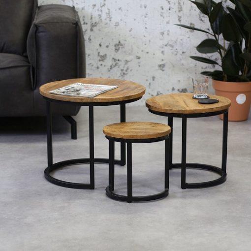 Houten industriele salontafel set 3