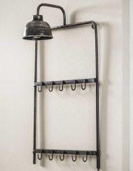 Industriële kapstok met lamp ijzer