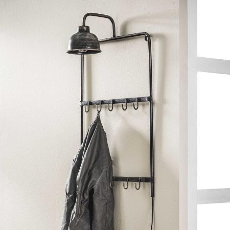 Industriële kapstok met lamp haken