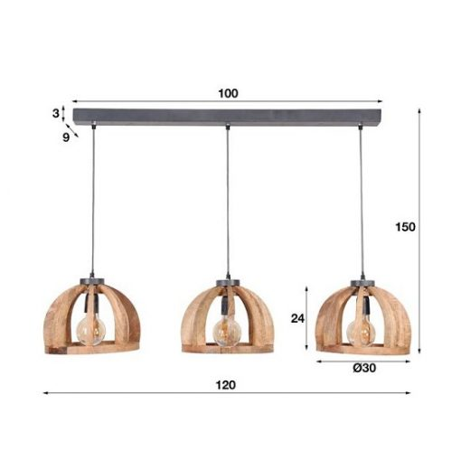 Houten hanglamp afmeting