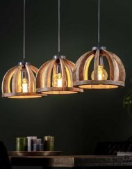 Houten hanglamp drie kappen rond