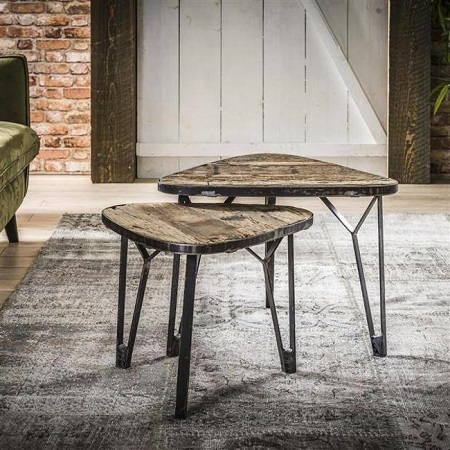 Industriele salontafel robuust hout metaal