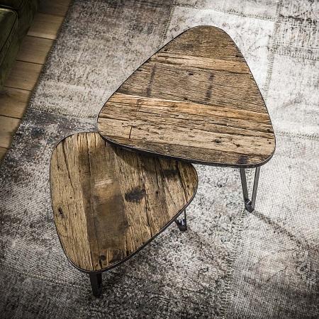 Industriele salontafel robuust hout set van 2
