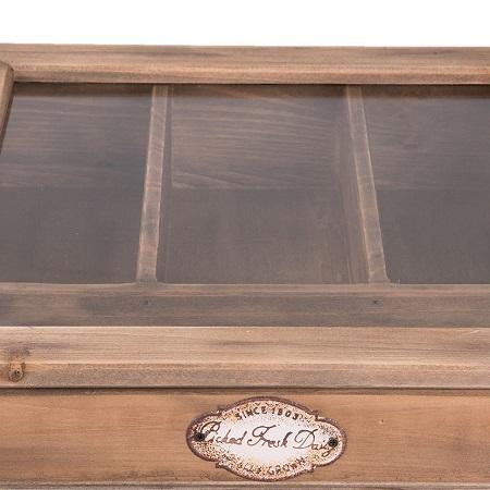 Stoere houten bestekbak detail