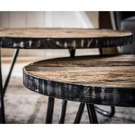 Stoere robuuste salontafel set van 2