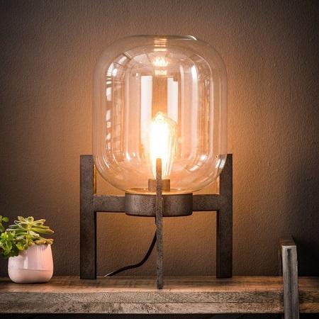 Tafellamp glazen stolp helder stoer