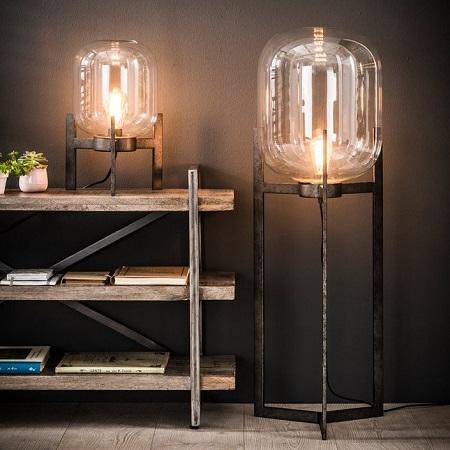 Tafellamp vloerlamp glazen stolp helder