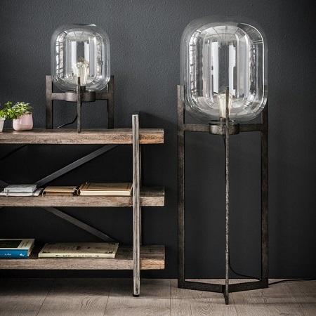 Vloerlamp glazen stolp helder