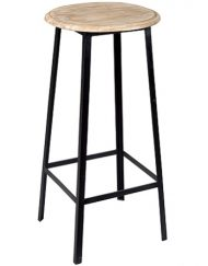 Barkruk metaal zwart houten zitting