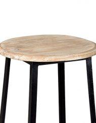 Barkruk metaal zwart houten zitting stoer