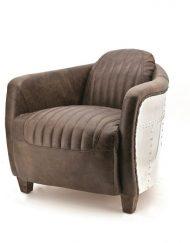 Industriële lederen fauteuil bruin