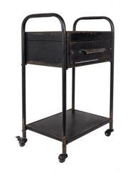 Stoere zwarte trolley vintage metaal
