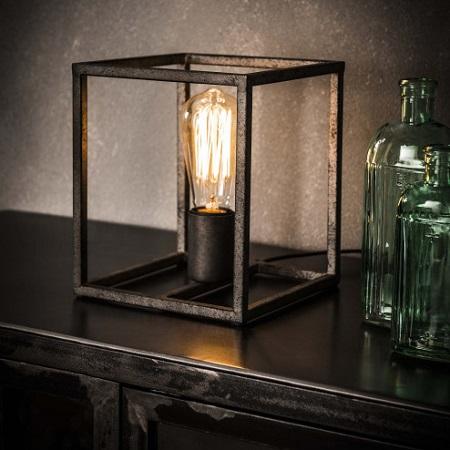 Tafellamp vierkant stoer metaal
