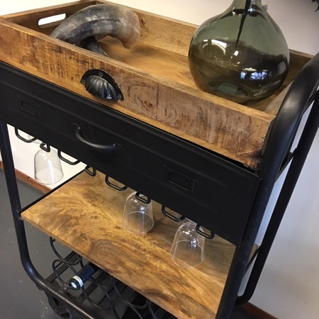 Bakkers trolley zwart metaal wijn