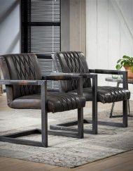 Industriële fauteuil antraciet vintage lederlook