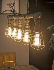Industriele hanglamp waterleidingbuis draadstaal