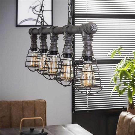 Industriele hanglamp waterleidingbuis grijs