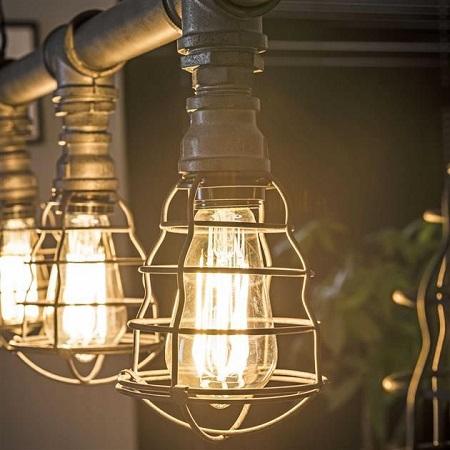 Industriele hanglamp waterleidingbuis vintage