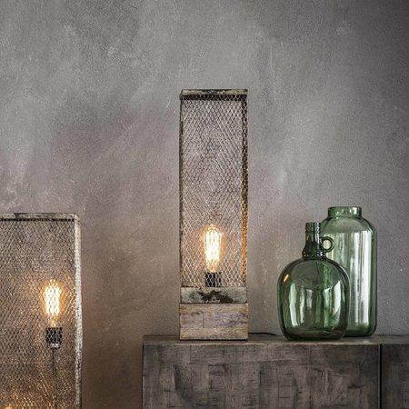 Industriele tafellamp metaal en hout vierkant