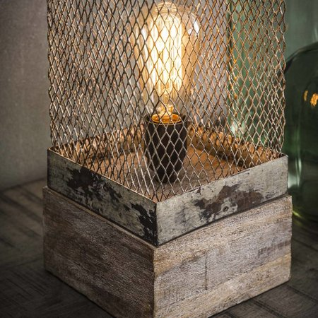 Industriele tafellamp metaal en houten poot