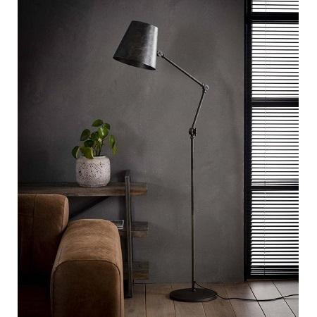 Vloerlamp metaal verstelbaar met kap stoer