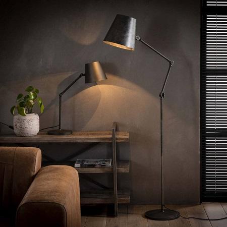 Vloerlamp metaal verstelbaar met kap zwart