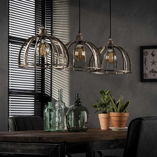 Industriele Metalen Eettafel.Eettafel Lamp Industrieel Metaal Blockdesign