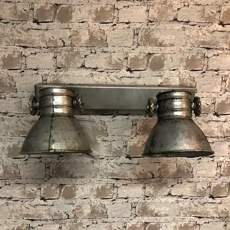Industriele plafondlamp twee spots