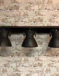 Industriele plafondlamp zwart met spots