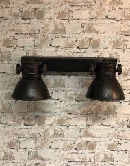 Industriele plafondlamp zwart twee spots draaibaar