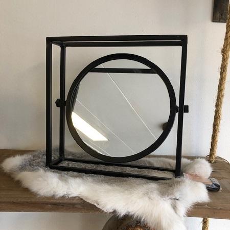 Kantelbare spiegel vierkant zwart metaal