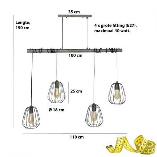 Eettafel hanglamp industrieel afmeting