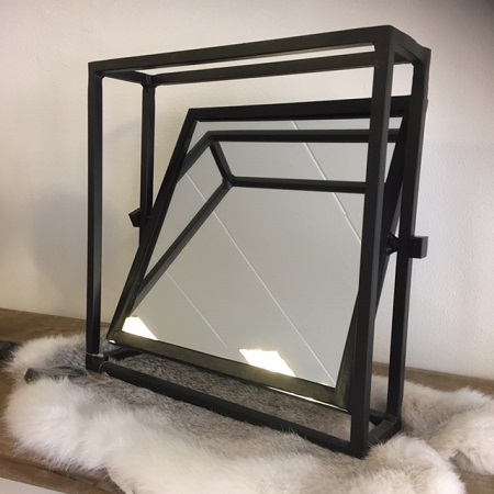 Spiegel vierkant zwart kantelbaar industrieel