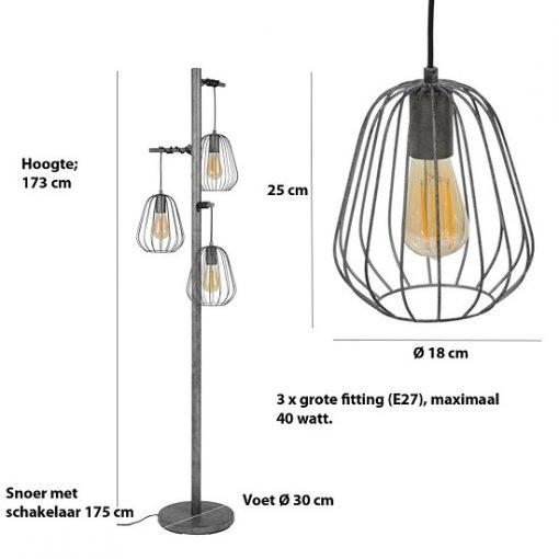 Stoere vloerlamp drie metaal afmetingen